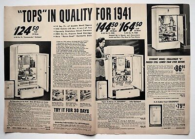 Vintage 1941 Sears Coldspot Refrigerator Appliances Advertising 4 Page AD 1940's