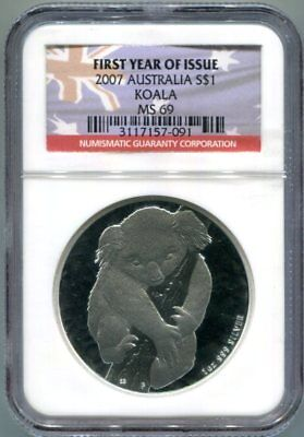 NGC-MS69 2007 Australia KOALA Silver Dollar Coin - First Year of Issue