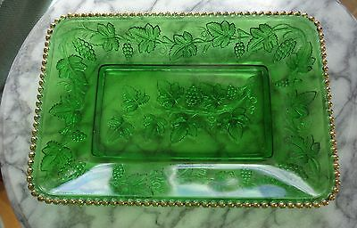 Vintage Green Pattern Glass Beaded Grape Serving Dish/Tray with Gold Bead Rim