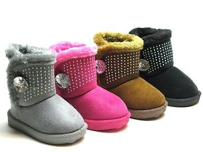 New-Adorable-Baby-Toddler-Girls-Winter-Boots-Faux-Fur-Suede-Shoes-Size-3-11