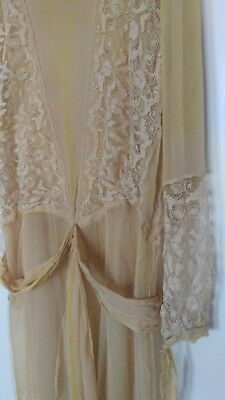 Pale yellow chiffon and lace 1920s flapper day dress true vintage