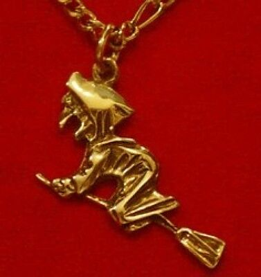 LOOK Celtic Black Magic WitchCraft Witch Gold Plated charm