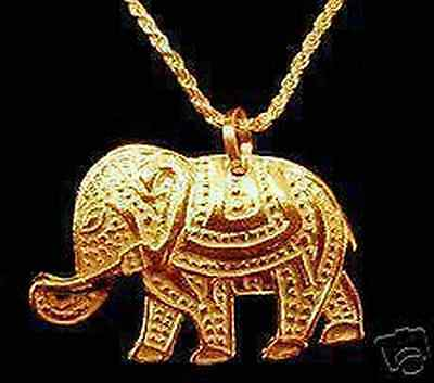 LOOK 0952 Gold Plated Circus Royalty Elephant Charm Pendant