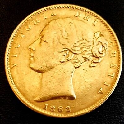 1862 Great Britain Gold Sovereign SHIELD BACK, Tower Mint - Extra Fine++