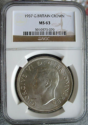 1937 King George VI Coronation Crown, Silver Coin, High Grade NGC MS63, Britain