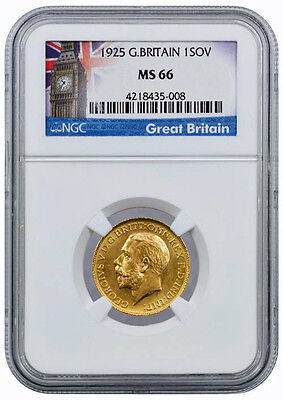 1925 King George V Full Gold Sovereign, Very High Grade NGC MS66, Britain