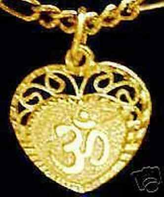 LOOK 0488 Gold Plated HEART Charm Pendant Hindu OM Silver
