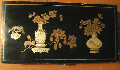 ANTIQUE CHINOISERIE PAPIER MACHE BOX CREPE LINED  c1900s