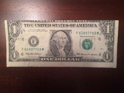 Very Rare  ONE DOLLAR 1999 Extreme Misaligned Print and Cut front and back!