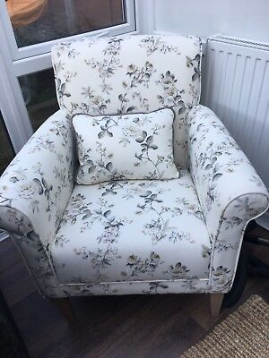 Furniture Village Floral  Armchair With Matching Cushion