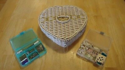 Vintage Weaved Plastic Sewing Heart Box Basket With Contents