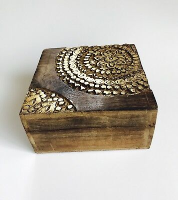 NEW Hand Wooden Jewelry Box vintage Treasure Chest Wood Crate India Gold Floral
