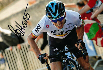 Sergio Henao Autographed - Signed 8X12 inches 2017 Sky Cycling Team Photo