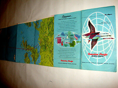 Canadian Pacific Airlines Map Route 1956