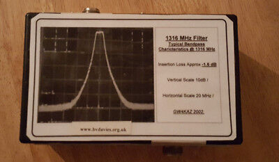 23cms 1316MHz tuneable bandpass filter ideal for ATV