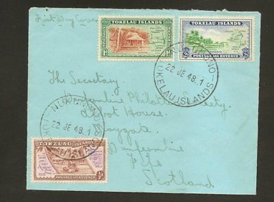 Tokelau Island Cover To Scotland Fdc First Day Cover 1948
