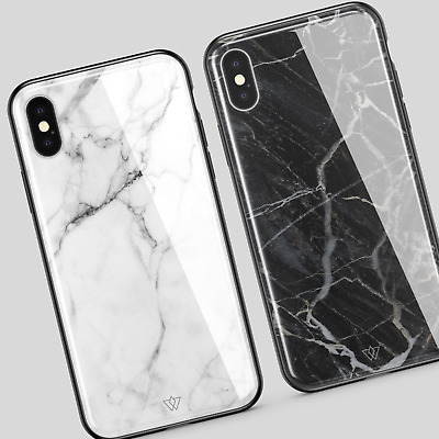 GLASS BACK Art Glossy Marble Case Cover For iPhone XS MAX X 7 6 6s 8 Plus