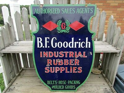 Early 1900's B.f. Goodrich Industrial Supplies 2 Sided  Porcelain Sign/gas/oil