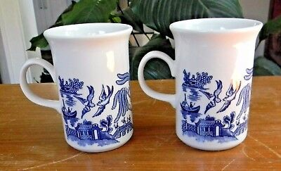 "Two CHURCHILL BLUE WILLOW 4"" MUGS Ear Handle England Excellent Condition!"