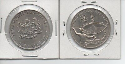 MALAYSIA $1 (1977) 9th SEA Games Comm Uncirculated large Coin. Beauty!