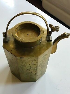 Antique Chinese Hand Engraved Brass Octahedral Tea Pot With Dragon Handle