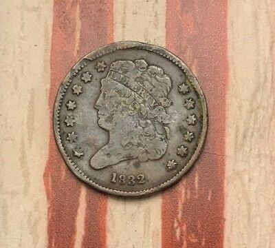 1832 Classic Head Half Cent Vintage US Copper Coin #UK21 Very Rare Key Date WOW