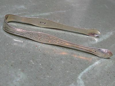 Excellent 1796 Peter Ann Bateman Georgian Bright Cut Sterling Silver Sugar Tongs
