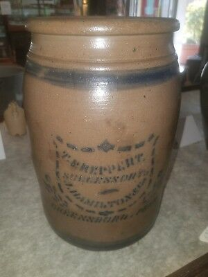 Hamilton & Jones Greensboro PA Stoneware Blue Cobalt 1 Gallon Crock Shield