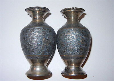 Vintage Pair Of Iran Persian 84 Silver Vases Signed 176.6 Grams
