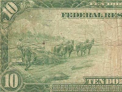Large 1914 $10 Dollar Bill Big Federal Reserve Note Paper Money Currency Jackson