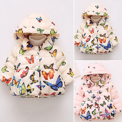 2017 Toddler Baby Winter Warm Cotton Jacket Butterfly Coat Kids Girls Outerwear