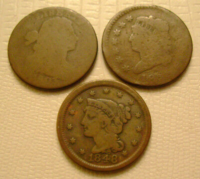 1803 Draped Bust 1812 Classic 1848 Braided Large Cents old US coins No Reserve