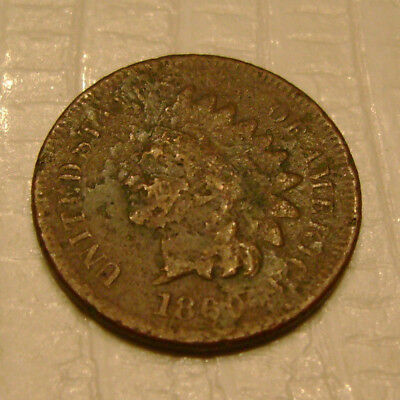 1869 Indian Head Cent better date old US coin No Reserve