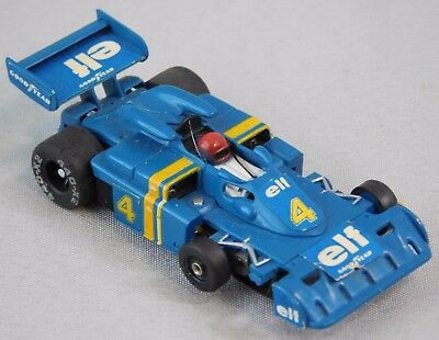 Vtg AURORA A/FX HO SCALE 6 WHEEL ELF WITH SUPER G PLUS CHASSIS BLUE #4 Slot Car