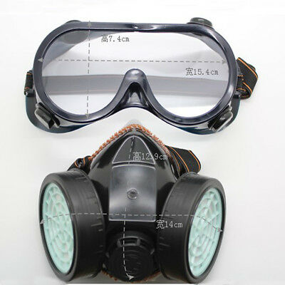 Industrial Chemical Gas Anti-Dust Spray Paint Dual Respirator Mask W/ Goggles