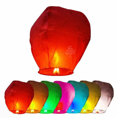 10pcs Fly Lanterns Chinese Paper Wish Lamp Sky Candle Flying Fire Kongming
