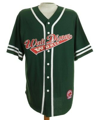 WALT DISNEY WORLD Green Button Front Embroidered Logo Throwback Jersey Men's L