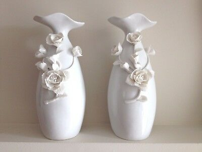 Vintage vase pottery porcelain high white handcrafted home decor Lot of 2 pieces