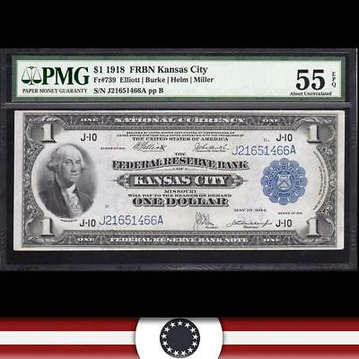 1918 $1 Federal Reserve Bank Note KANSAS CITY FRBN PMG 55 EPQ Fr 739  J21651466A
