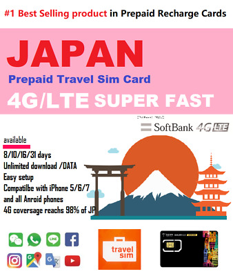 Japan Travel - 15 days Prepaid data SIM card 4G/LTE UNLIMITED Softbank Network