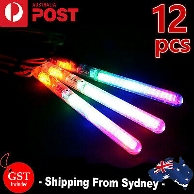 12x LED Light Flashing Wand Sticks Colour Changing Glowsticks Party Glow in dark
