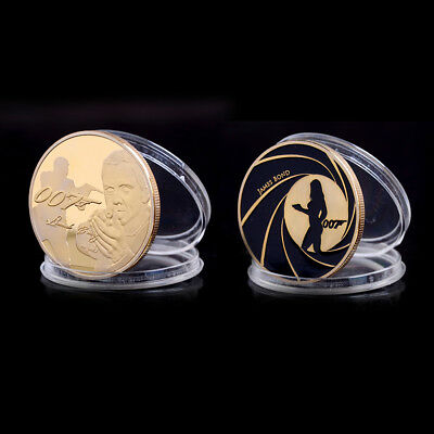 James Bond 007 Gold Plated Commemorative Challenge Coin Collection Souvenir FM