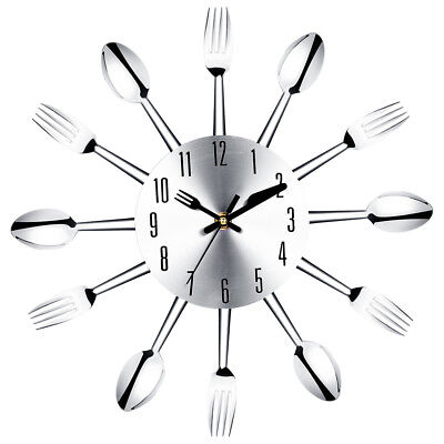 Stainless steel knife and fork spoon kitchen restaurant wall clock Home Dec G5R6