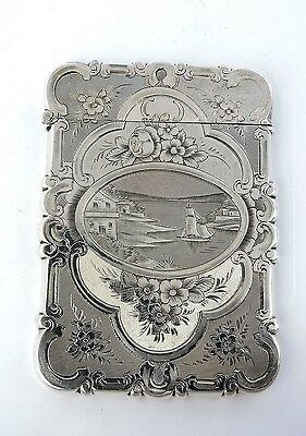 Superbly engraved LAKESIDE SCENES SILVER CARD CASE, Birmingham 1853 castle top