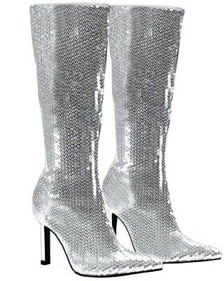 Silver Sequin Womens Boots