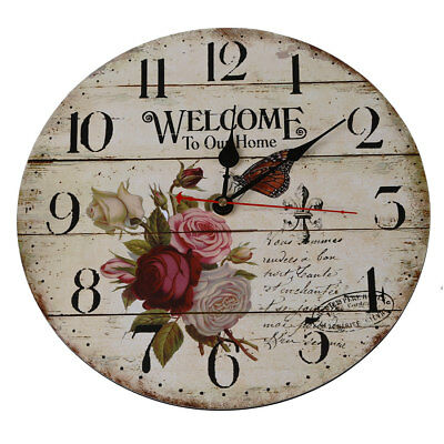 Rose flower butterfly English alphabet Round Wood wall clock table F2M3