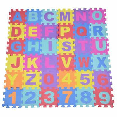 36pcs Soft EVA Foam Baby Kids Play Mat Alphabet Number Puzzle Jigsaw H4K7