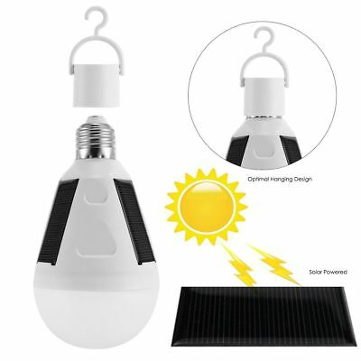 7W Solar Power LED Bulb Lamp Portable Outdoor Camping Light Tent Fishing Light