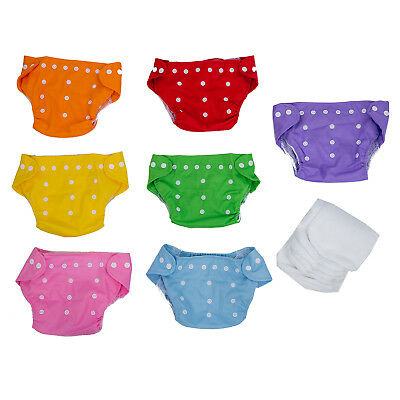 7x Reusable Adjustable Washable Baby Diaper One Size +7 Inserts B3P8
