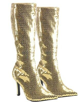 Gold Sequin Womens Boots